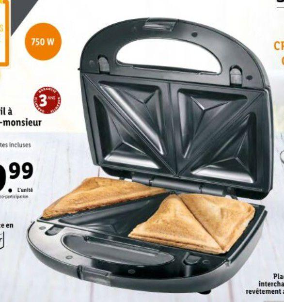 Appareil à croque monsieur / gaufre / grill 3en1 Silvercrest - 750 Watts