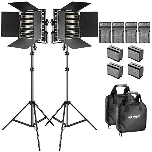 Lot de 2 Lumières bi-couleur réglables avec supports en U et Barndoor Neewer 660 LED + Accessoires (Vendeur Tiers)