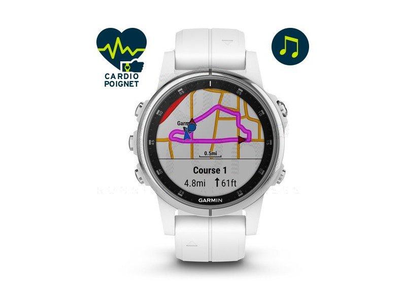 Montre multisport GPS Garmin Fenix 5S Plus - Silver Saphire
