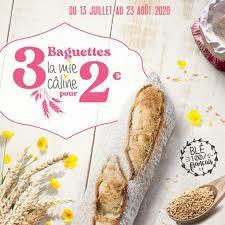 3 Baguettes de pain pour 2€ (La mie câline)