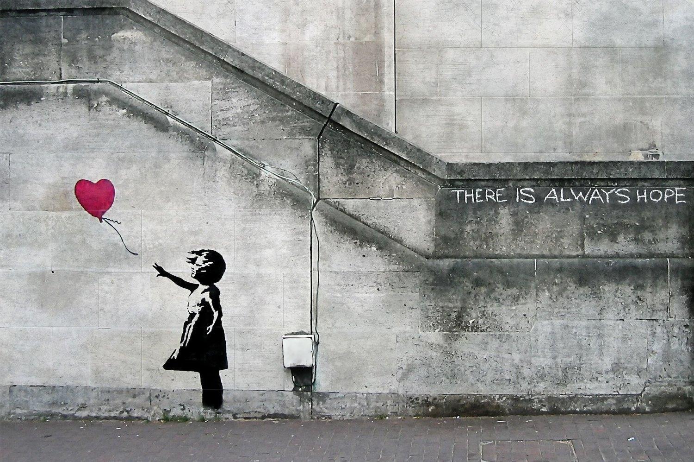 """Papier peint photo Banksy la fille du ballon """"There is always hope"""" 210 x 140 cm + une autre affiche en cadeau"""