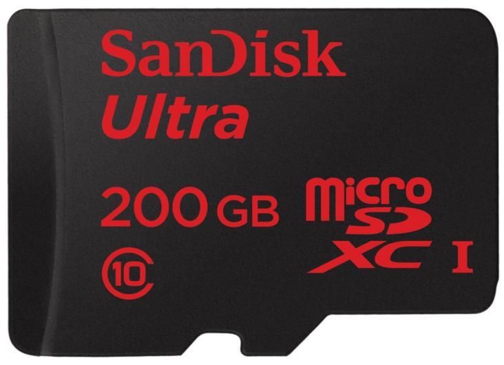Carte mémoire microSDXC SanDisk Ultra 200 Go Classe 10 UHS-I + adaptateur SD