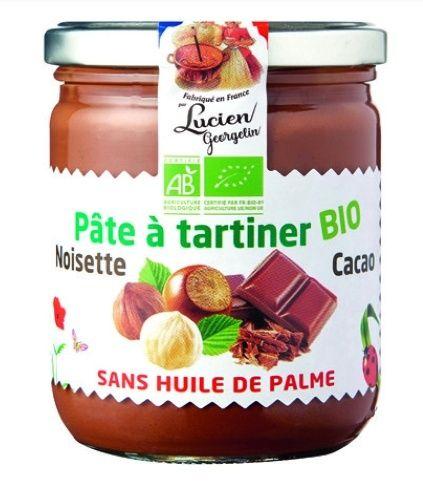 Lot de de 2 pots de Pâte à tartiner Bio aux noisettes Lucien Georgelin - 2 x 400g