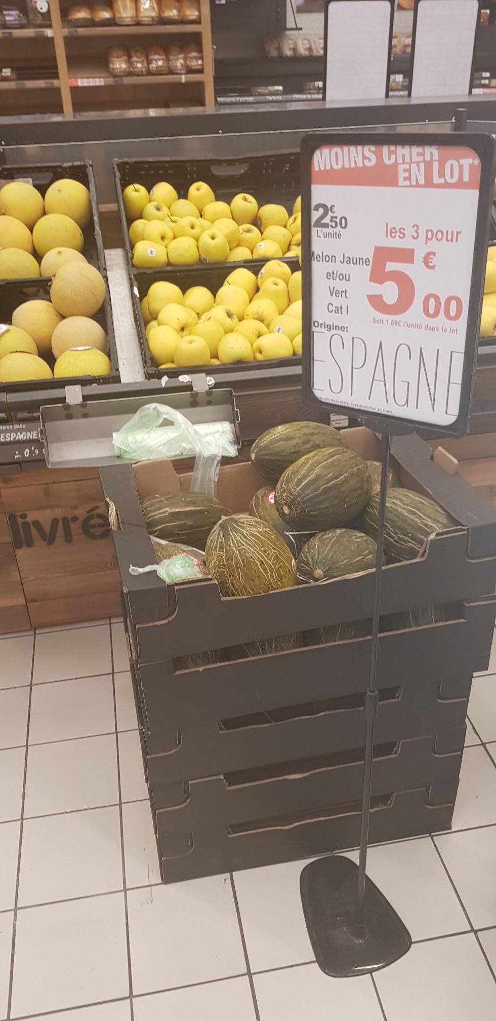 Lot de 3 melons jaunes ou verts - Le Crès (34)