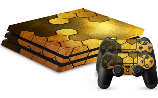 Skin Steel Gold pour console PS4 Pro + 2 skins pour manettes (frontaliers Belgique)