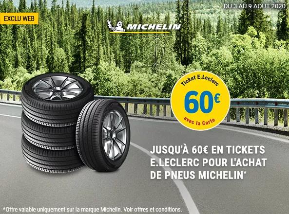 Jusqu'à 15€ offerts par pneu en tickets E.Leclerc sur la marque Michelin - Ex : Pneu été Primacy 3 - 225/45 R17 91W (Via 15€ sur la carte)