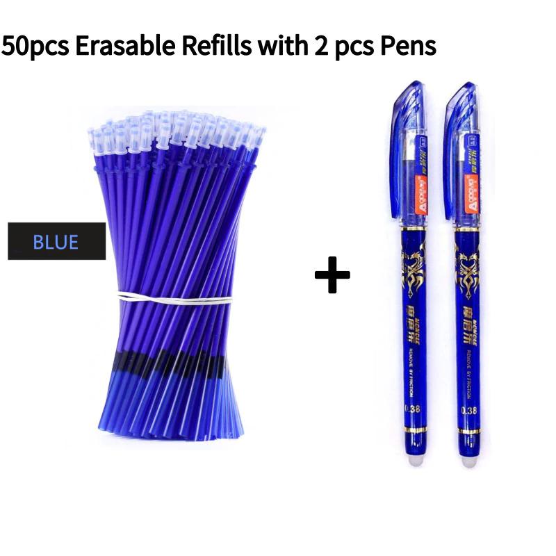 2 Stylo à encre gel effaçable + 50 recharges (rouge,bleu ou noir)