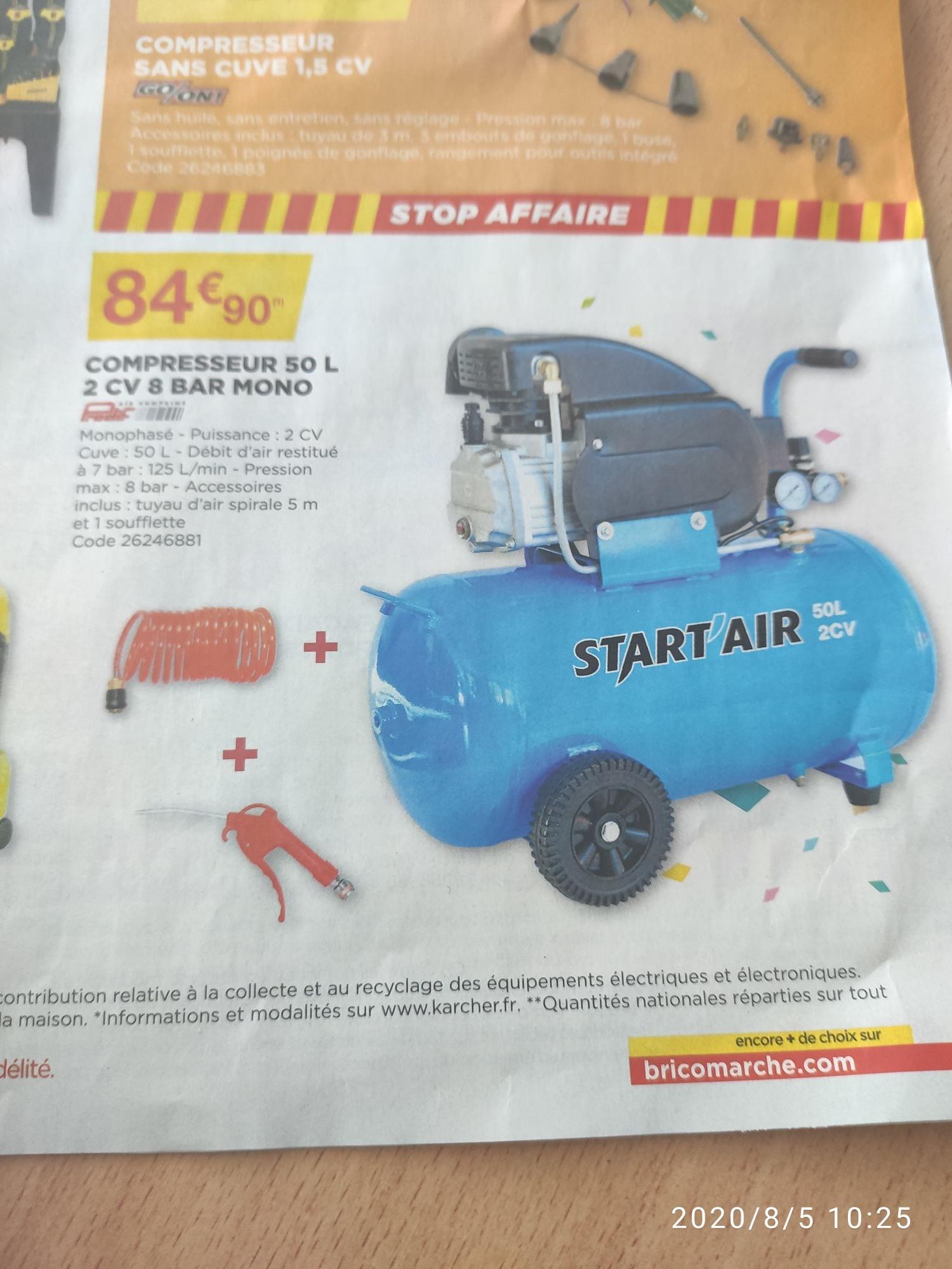 Compresseur d'air Start'Air - 50L, 2CV, 8 bars
