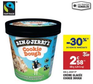Pot de Crème Glacée Ben & Jerry's Cookie Dough - 406 g