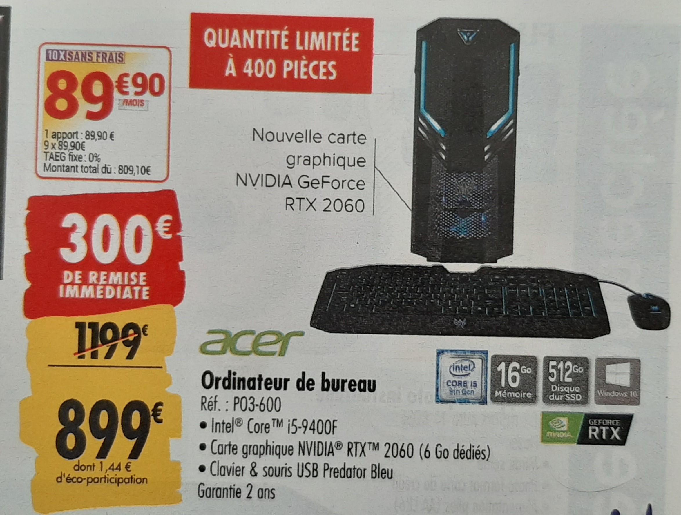 PC Acer Predator Orion 3000 - i5-9400f, Nvidia RTX 2060, 16Go de Ram, SSD 512Go