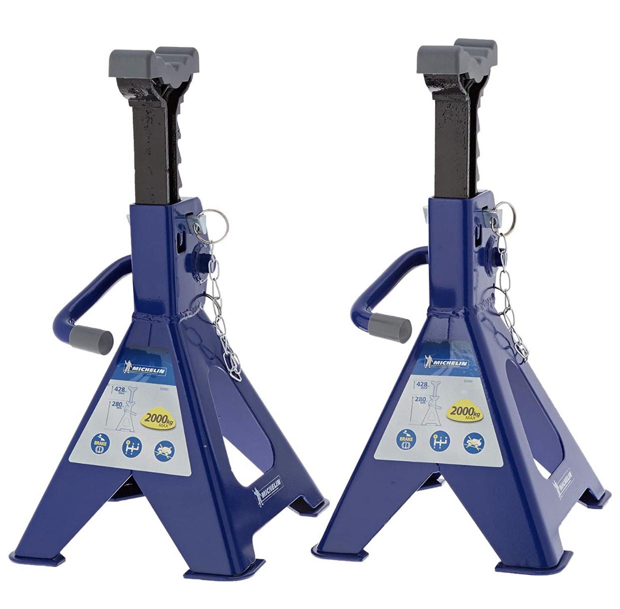 Lot de 2 Chandelles Michelin capacité 2T (009 557) - Hauteur de blocage 280 à 408mm, goupille de sécurité