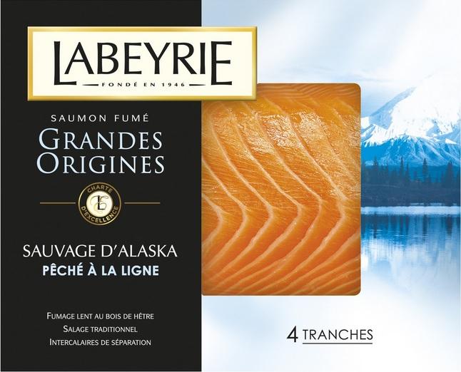 Saumon fumé gamme grandes origines Labeyrie - 4 tranches (via BDR)