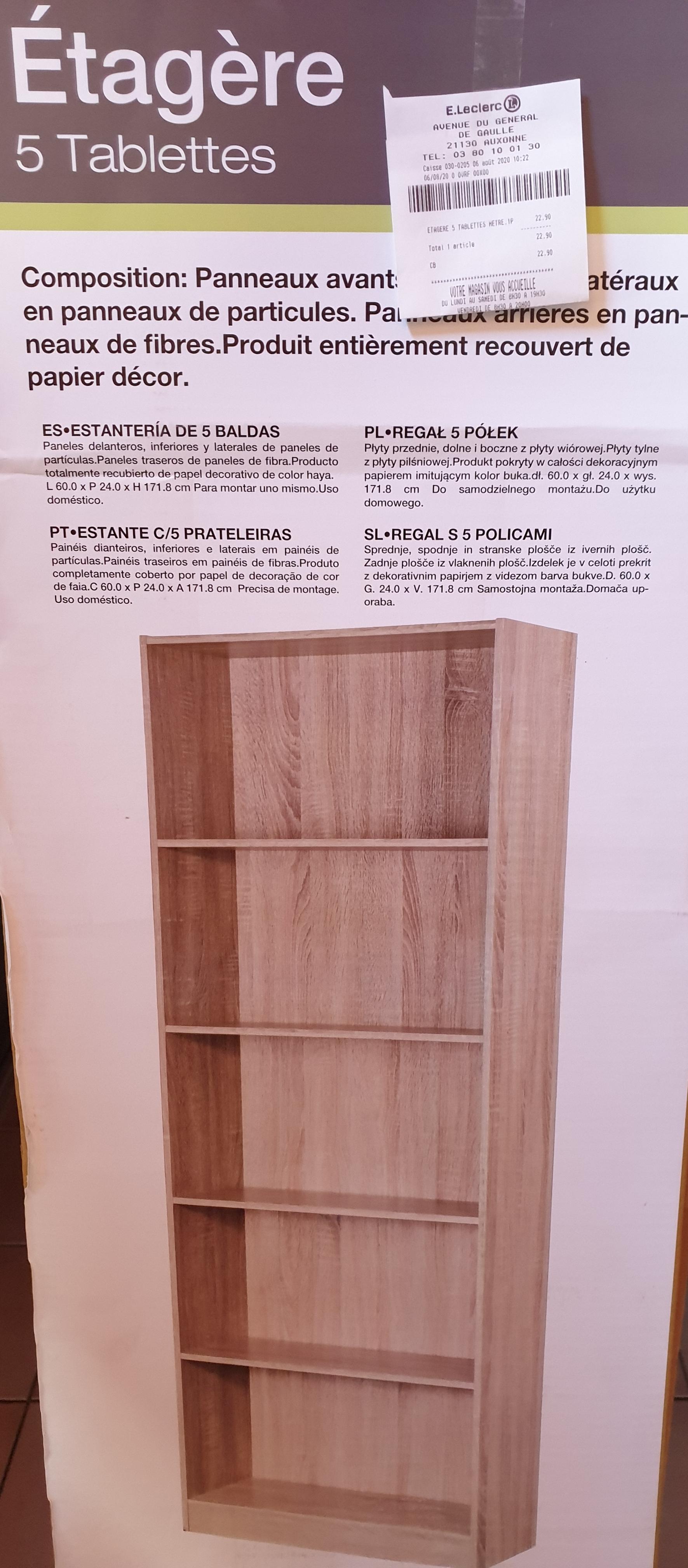 Etagère Rangement 5 Tablettes (Coloris au choix) - H 171cm L 60 cm P 24cm - Auxonne (21)