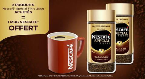 2 produits Nescafé Spécial Filtre achetés = 1 mug Nescafé offert - Ex : 2 Bocaux de Café instantané Nescafe - 200g (via ODR Quoty)