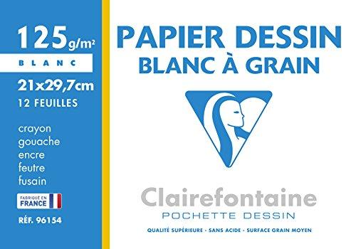 Pochette Dessin Clairefontaine 96154C à grain blanc avec 12 feuilles - 21x29,7 cm, 125g