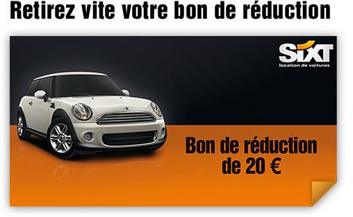 Bon de -20€ sur une location de voiture (Valable 1 an, pour une location de 5 jours min.)