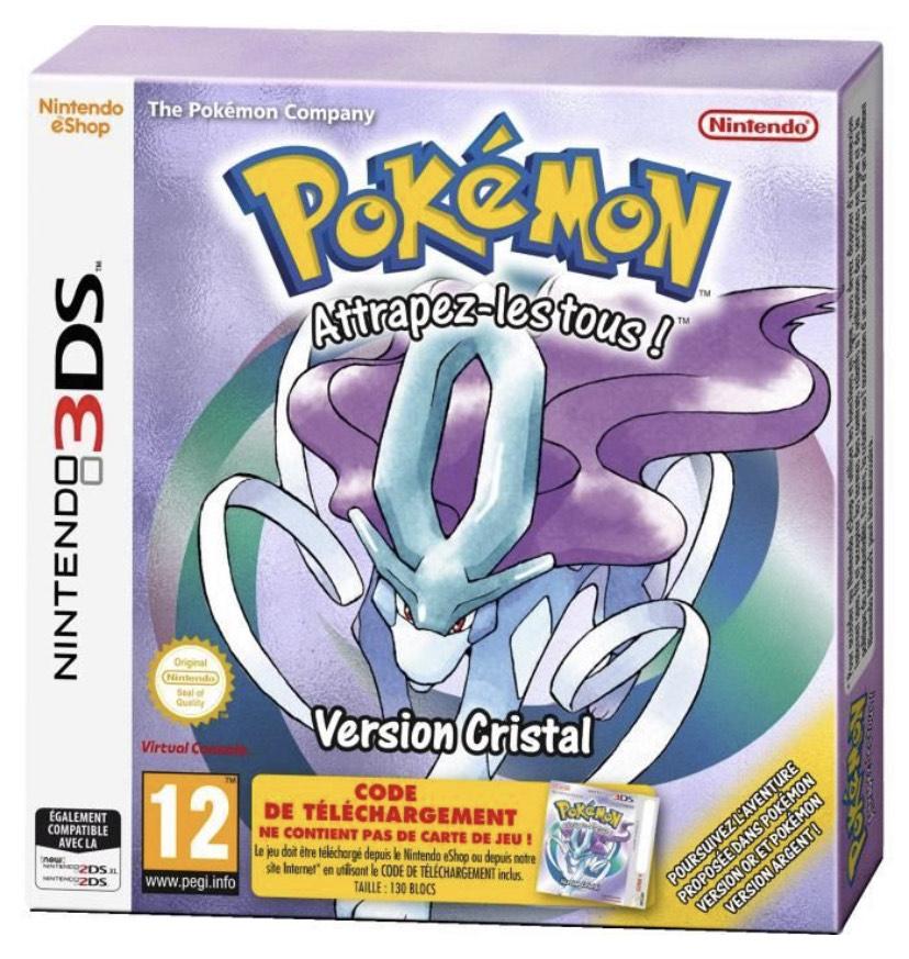 Jeu Pokemon Version Cristal sur Nintendo 3DS [Code de téléchargement dans la boite]