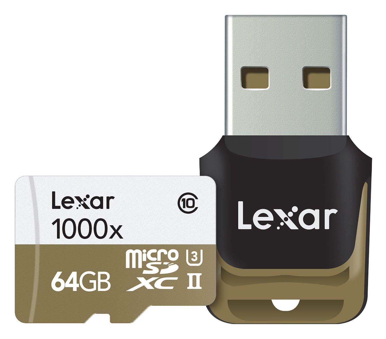 Carte Micro SD Lexar 64 Go UHS-II avec Lecteur de carte mémoire USB 3.0 (150 Mo/s)