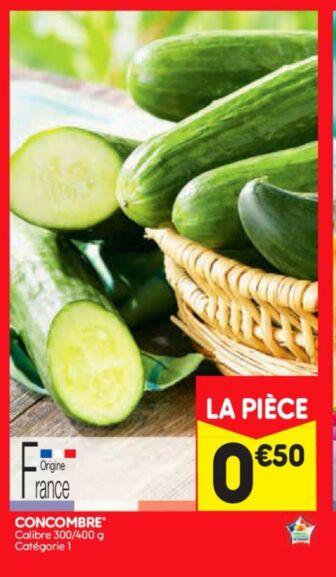Concombre catégorie 1 Calibre 300/400g (Origine France)