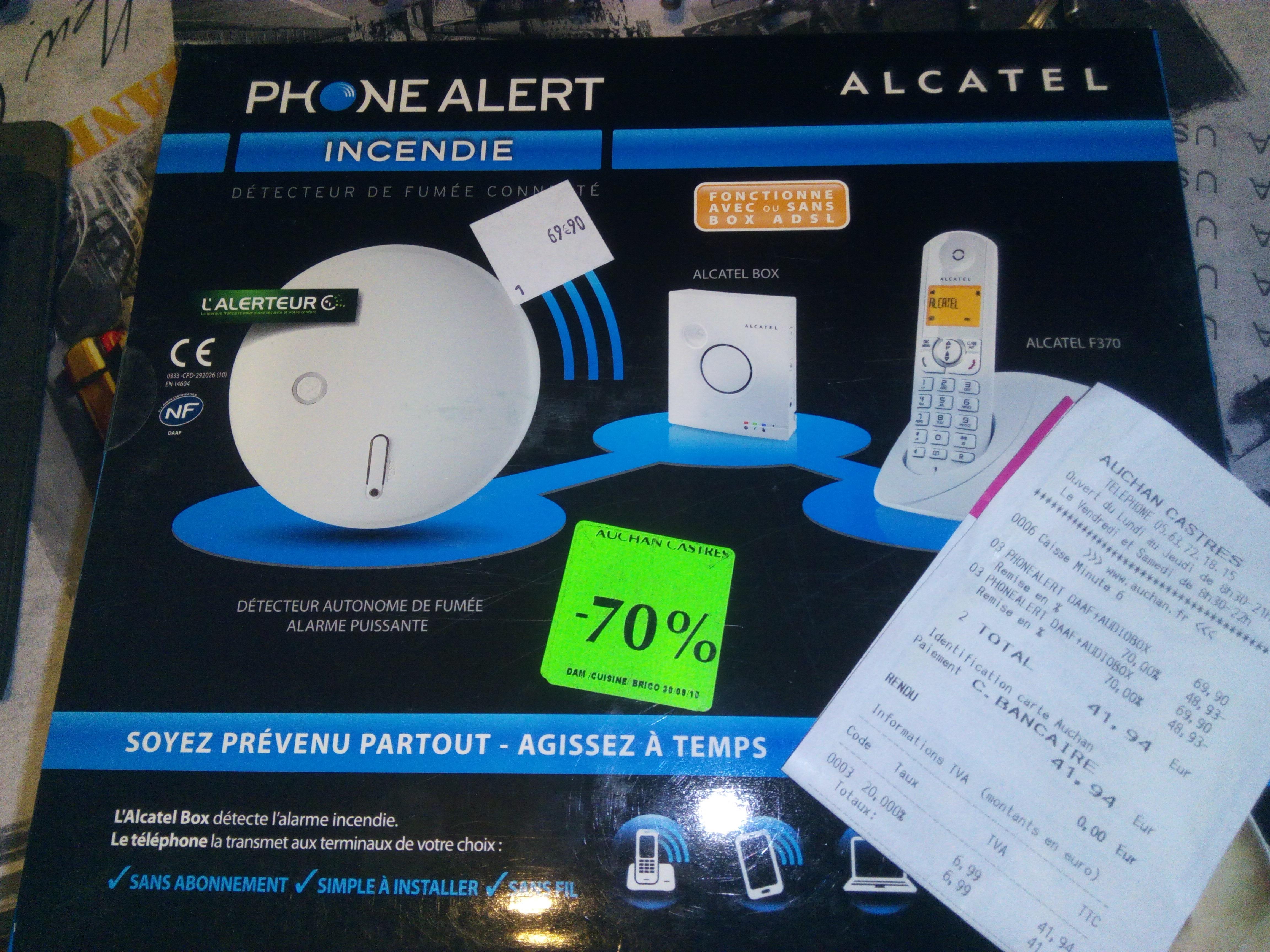 Kit Alcatel Phone Alert Incendie (Détecteur de fumée + Box + Téléphone F370)