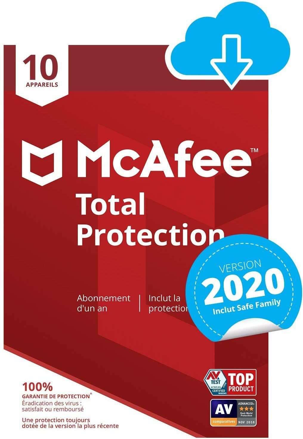 Antivirus McAfee 2020 Total Protection - 1 an, jusqu'à 10 appareils (Dématérialisé)