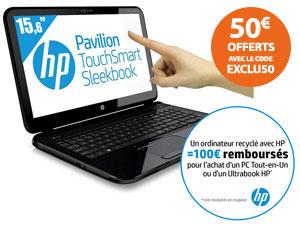 """PC Portable 15,6"""" HP Pavilion TouchSmart 15-B153EF Tactile (Avec possibilité ODR de 100€)"""