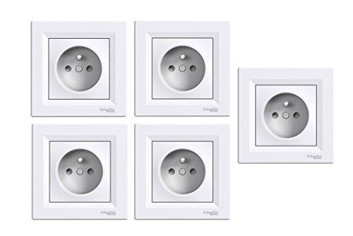 Lot de 5 Prises de Courant Encastrables Schneider Electric SC5EPH2823221 avec Terre 2P+T Asfora - 16A / 3680W