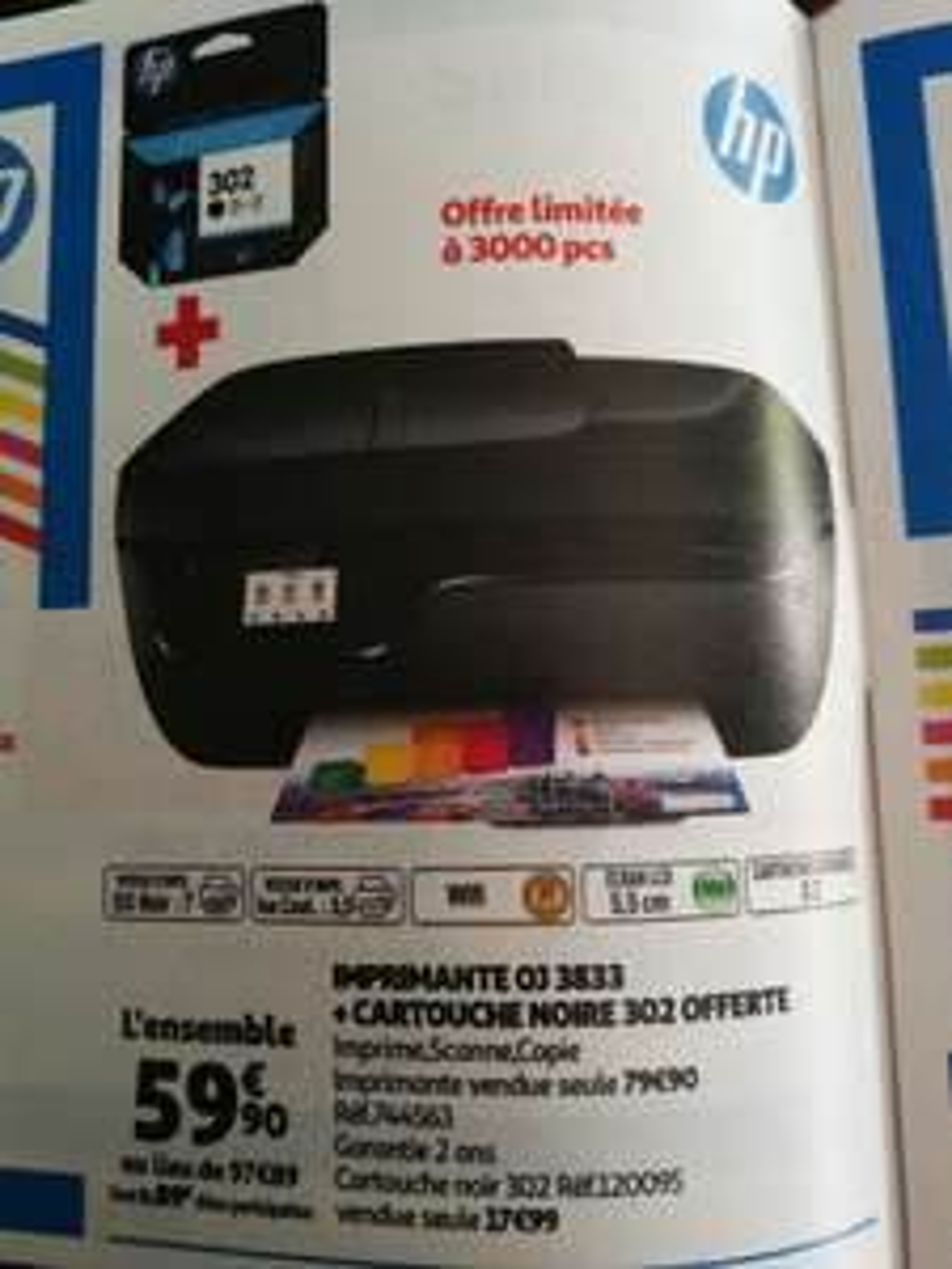 Imprimante tout-en-un HP OfficeJet 3833 + Cartouche Noire 302