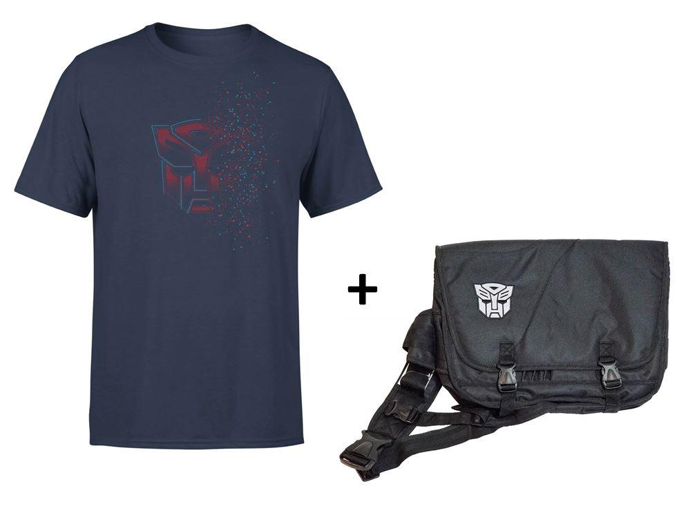 Lot Sacoche PC + T-shirt Transformers (modèle au choix) - Ex : T-shirt bleu marine Autobot fade + Sacoche Robots in disguise
