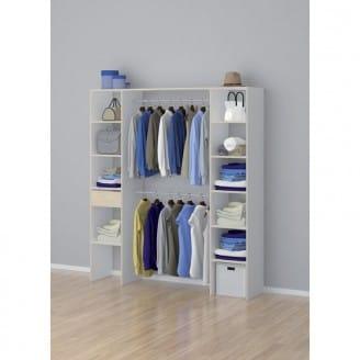 Kit meuble dressing Nicole - avec 2 colonnes, 11 étagères, 1 tablette et 2 barres de penderie, 200x180x39 cm