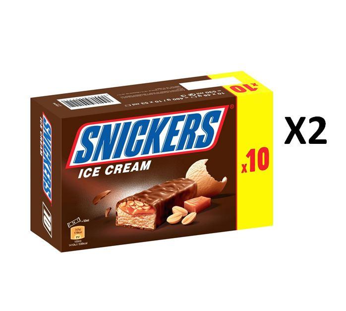Lot de 2 boîtes de 10 barres glacées Snickers (20x48g)
