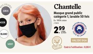 Masque grand public Chantelle (UNS1, 80 lavages)