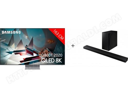 "TV QLED 8K 65"" Samsung 65Q800T (2020) - Full LED, OST+, Smart TV + Barre de son HW-Q800T (via ODR 1000€)"