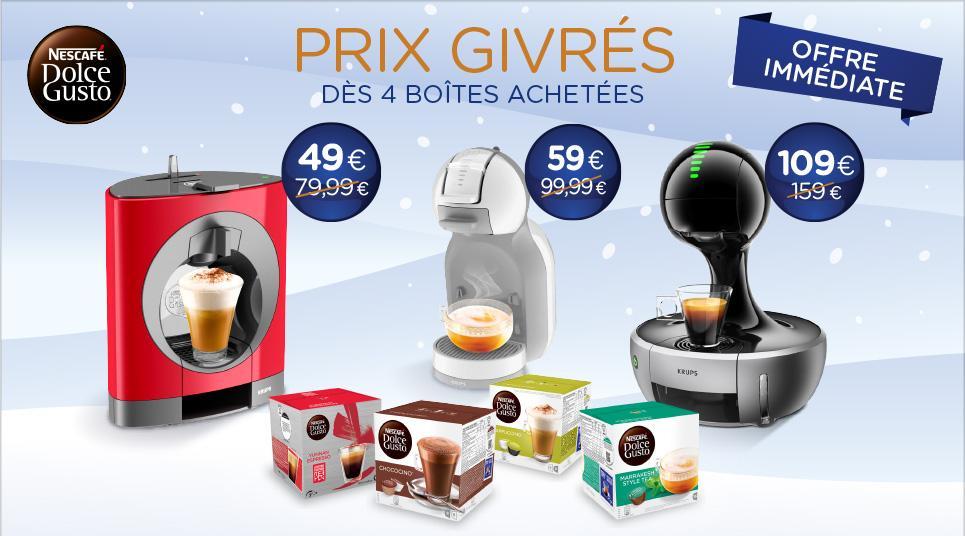 Jusqu'à 50€ de réduction sur l'achat d'une machine dès 4 boites achetées - Ex : Machine à café Dolce Gusto Drop + 4 Boites