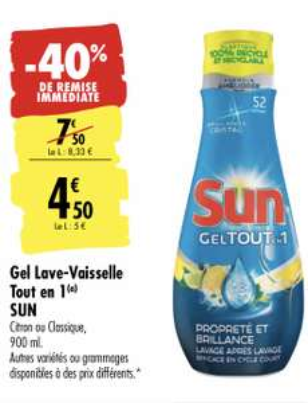 Gel lave-vaisselle Tout en 1 Sun - 900 ml (via BDR de 1.80€)