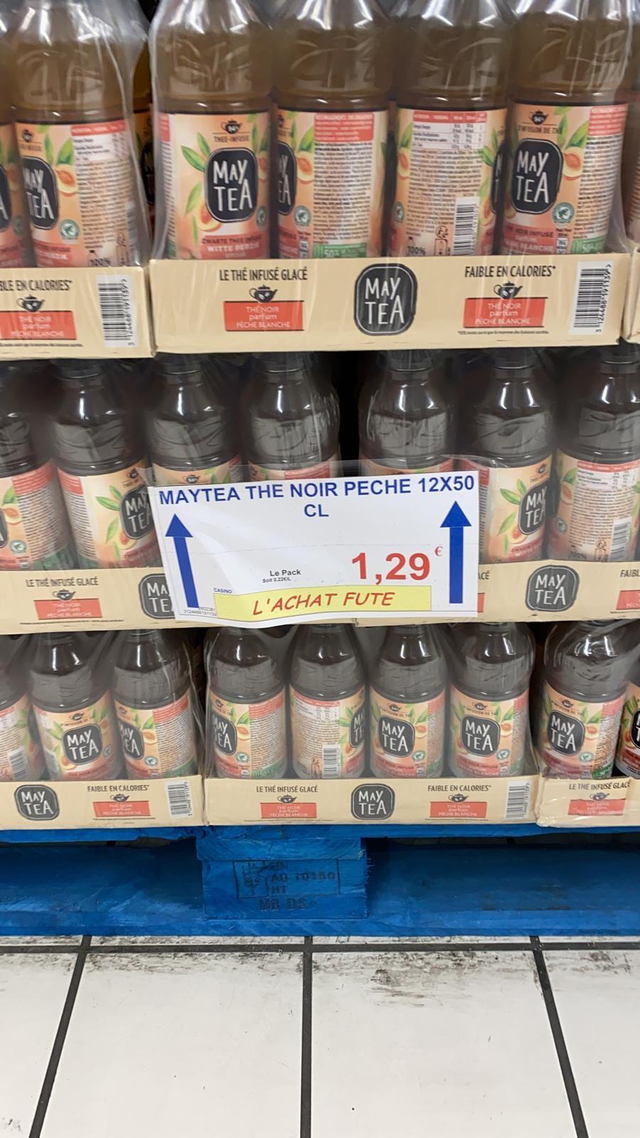 Sélection d'articles en promotion - Ex : Bouteille de May Tea Noir Pêche (Halles Market Aulnay-sous-Bois - 93)