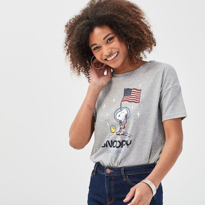 Sélection d'articles en promotion - Ex : T-shirt manches courtes Snoopy gris clair