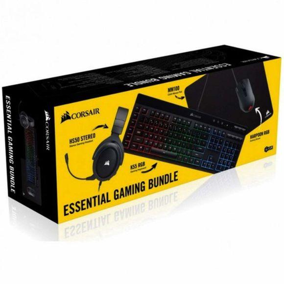 Pack gaming Corsair: Casque HS50 Stereo + Clavier K55 RGB + Souris Harpoon RGB Pro + Tapis de souris MM100 Medium