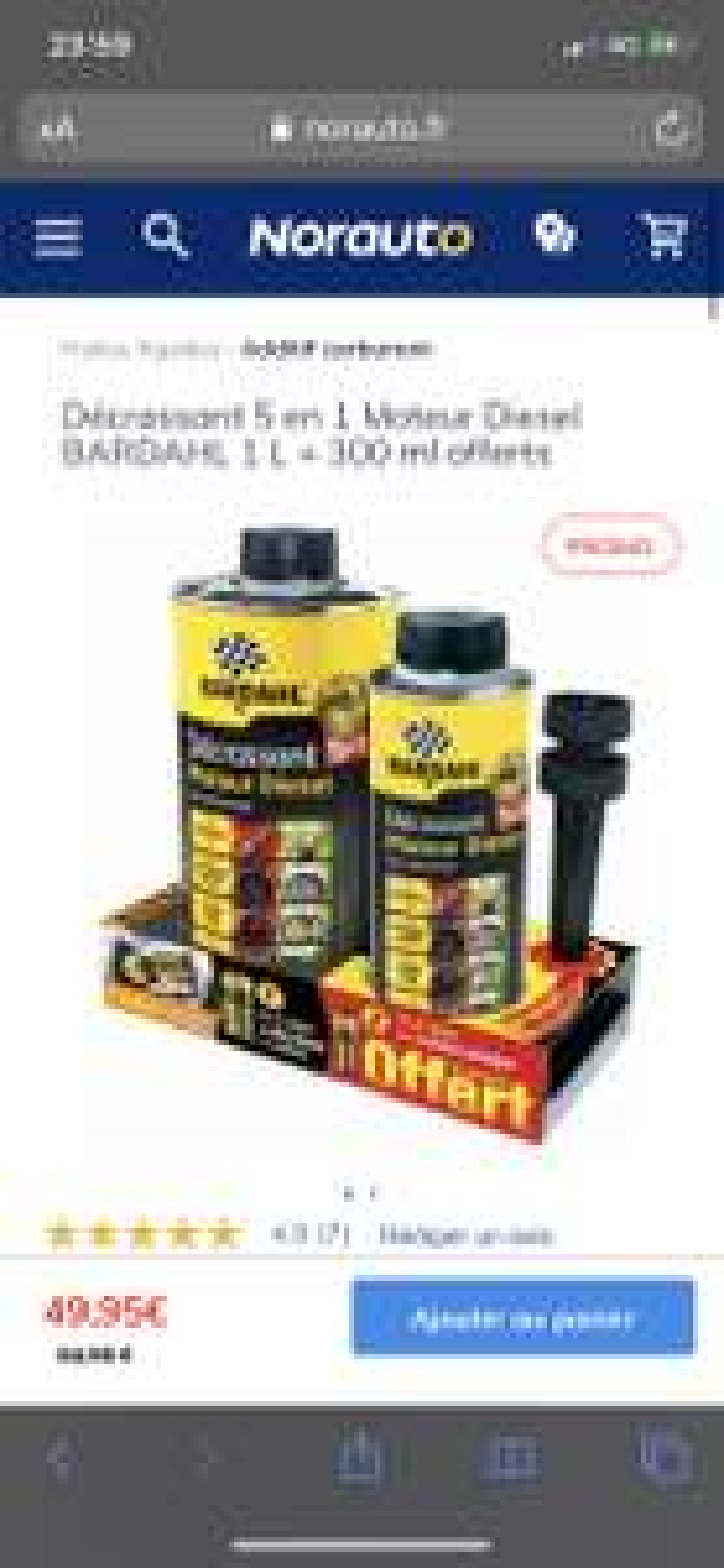 Décrassant 5 en 1 Moteur Diesel BARDAHL 1 L + 300 ml