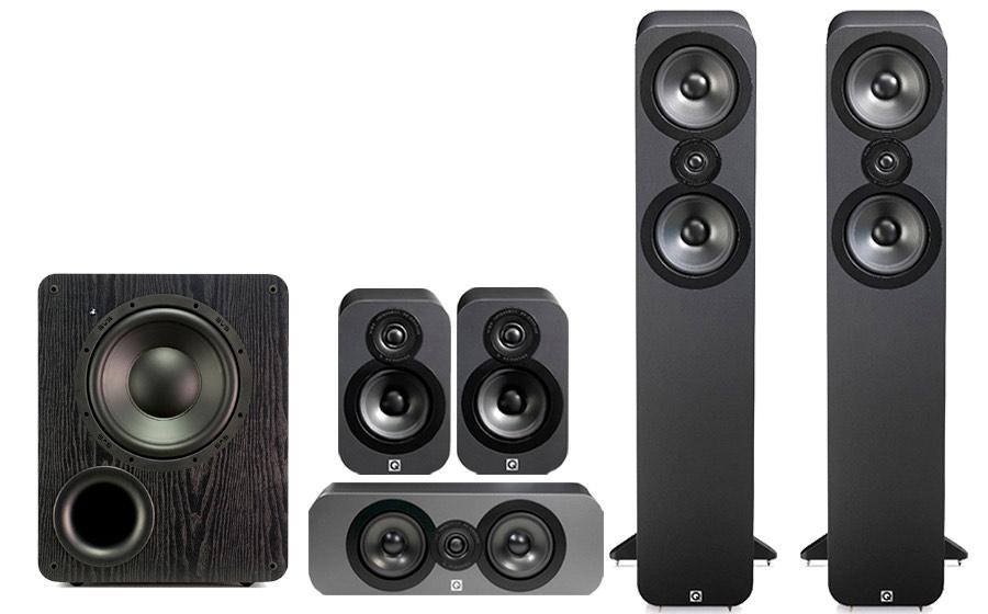 Pack Enceintes Home-cinéma 5.1 hi-fi Q Acoustics 3050 Cinema Pack + Caisson de basses SBS PB-1000 (Graphite)