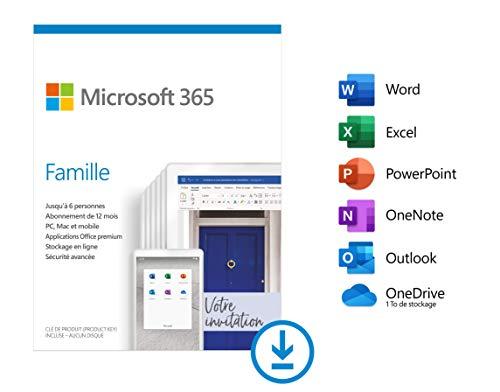 Abonnement d'un an à Office 365 Famille - 6 postes (Dématérialisé)