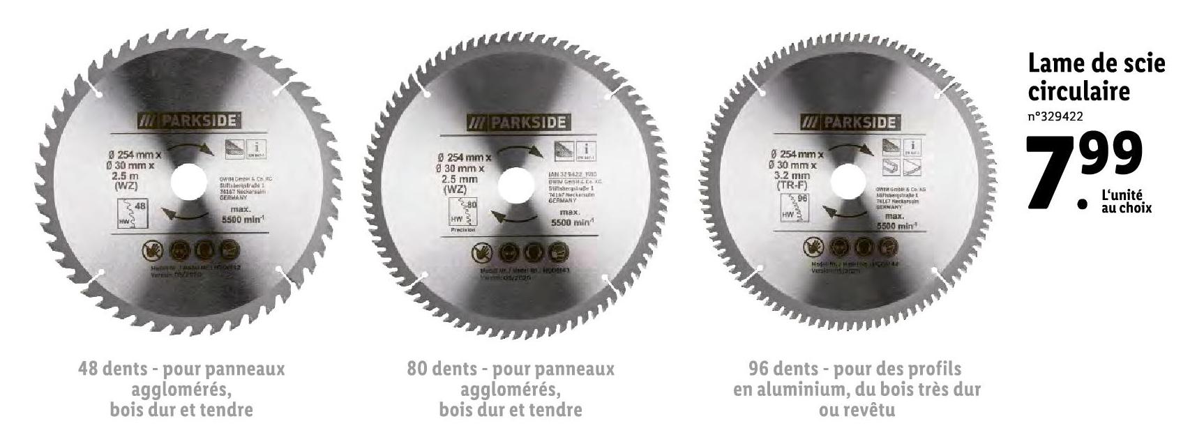 Lames de scie circulaire de 254mm
