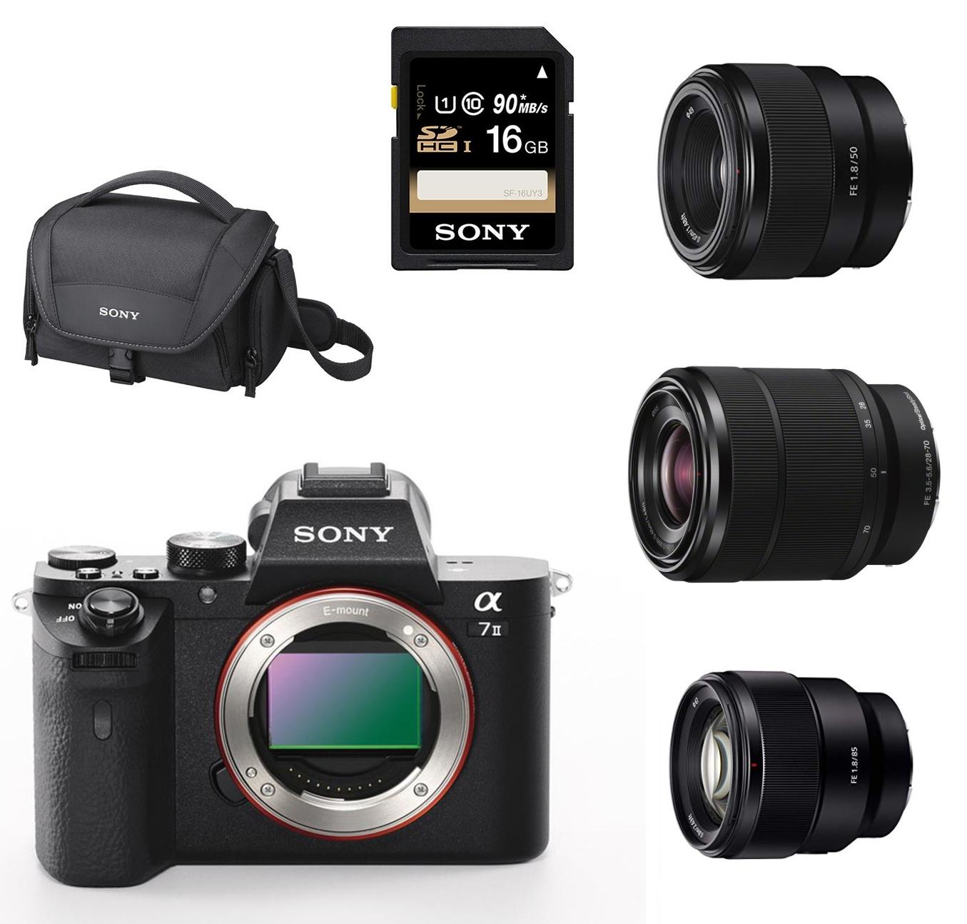 Appareil photo Hybride Sony Alpha A7 II + 3 Objectifs (28-70 mm f/3.5-5.6 + 50 mm f/1.8 + 85 mm f/1.8) + Sacoche + Carte SD 16 Go