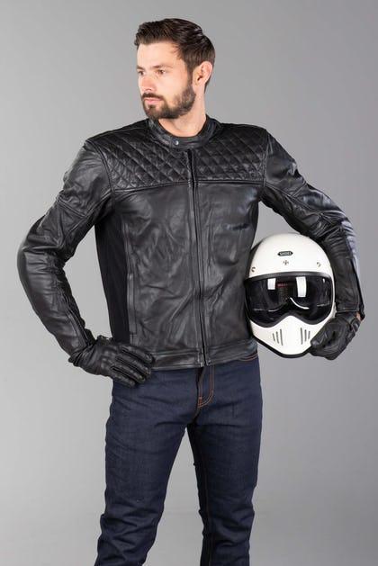 Blouson de moto en Cuir Boomer - Noir ou marron