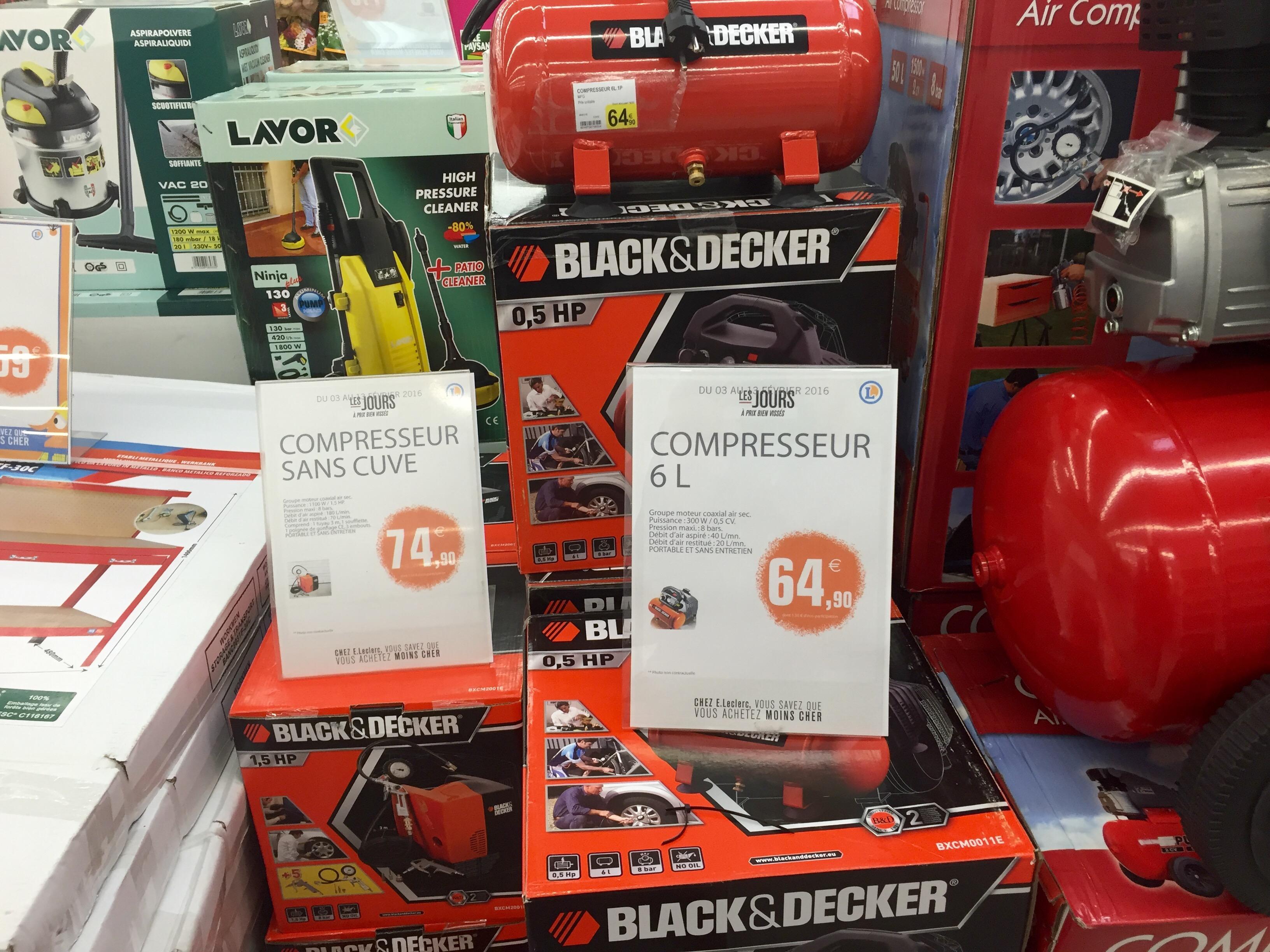 Sélection de compresseurs en promotion - Ex : Compresseur sans cuve Black & Decker Cubo