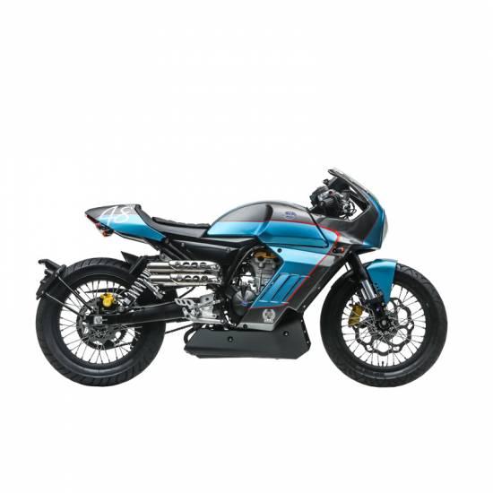 Moto FB Mondial Pagani Sport Classic - 125 cm², Bleu/Gris + Gravage (mondialcity.fr)