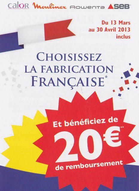 ODR de 20€ sur des produits Seb fabriqués en France, Ex. : Friteuse Actifry Seb GH806100 1,2 Kg