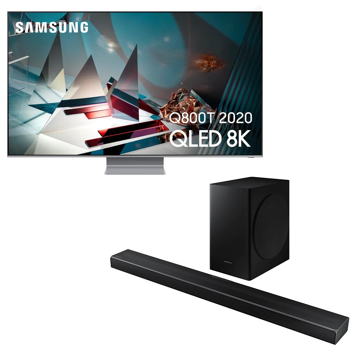 """TV 65"""" Samsung QE65Q800T (QLED, 8K, 100 Hz / Traitement 200 Hz, HDR 2000, Smart TV) + Barre de son HW-Q60T (360W) - Via ODR de 1000€"""