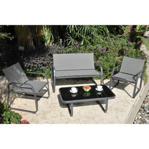 Salon de jardin Palmeri : 1 canapé, 2 fauteuils et table basse