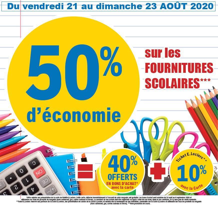 40% en bon d'achat + 10% sur la carte fidélité pour l'achat de fournitures scolaires - Grand Pineuilh (33)